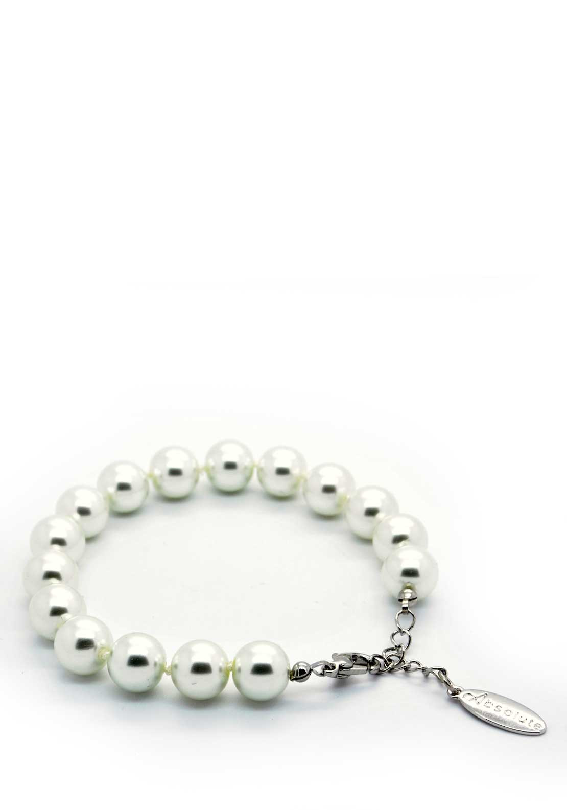 Absolute Jewellery Pearl Bracelet with Silver fixings, White