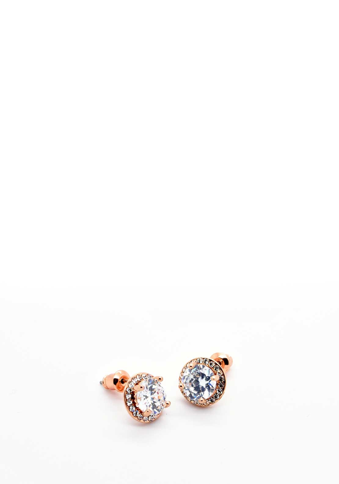 Absolute Jewellery Prong Set Crystal Halo Earrings, Rose Gold