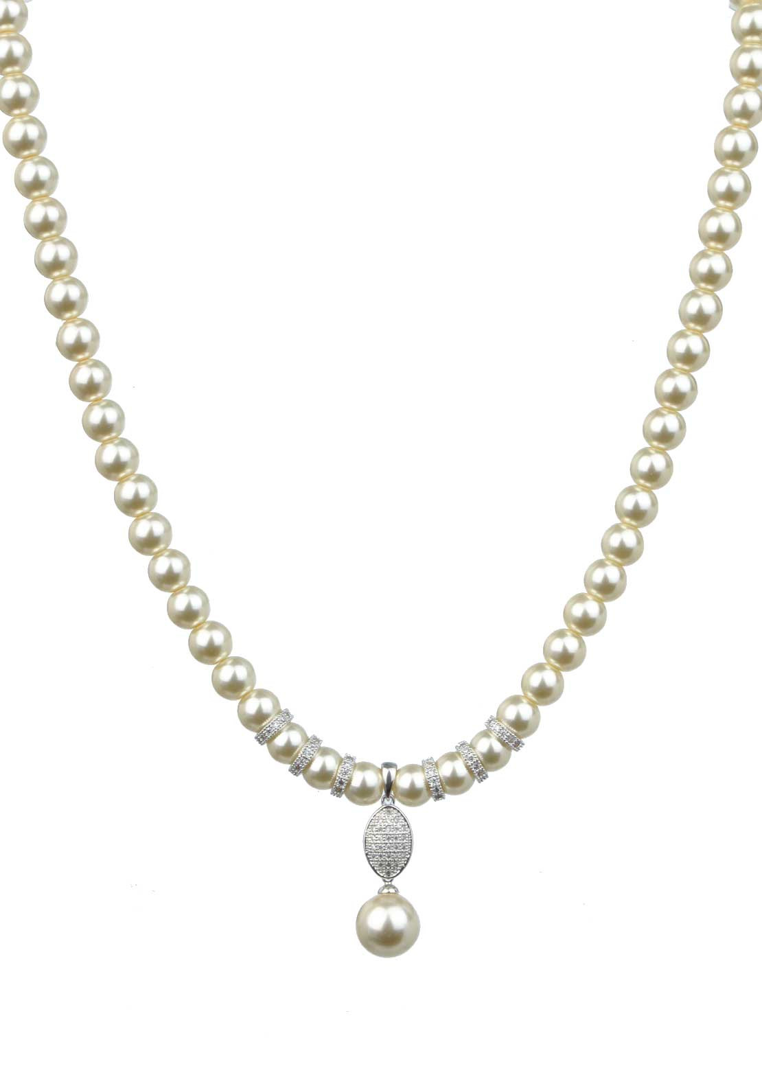 Absolute Jewellery Pearl Necklace with Pave Set Pearl Drop, Pearl