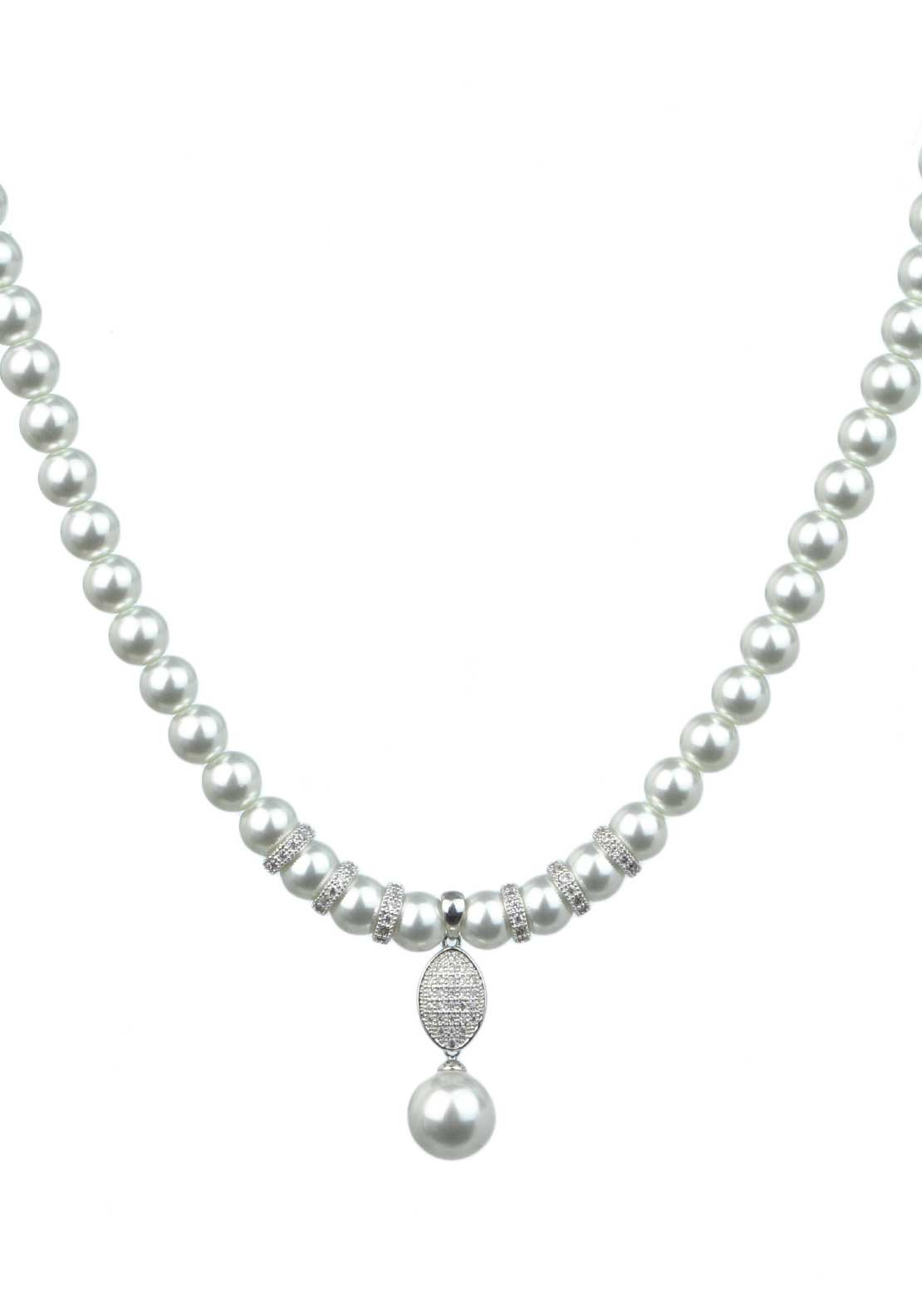 Absolute Jewellery Pearl Necklace with Pave Set Pearl Drop, White