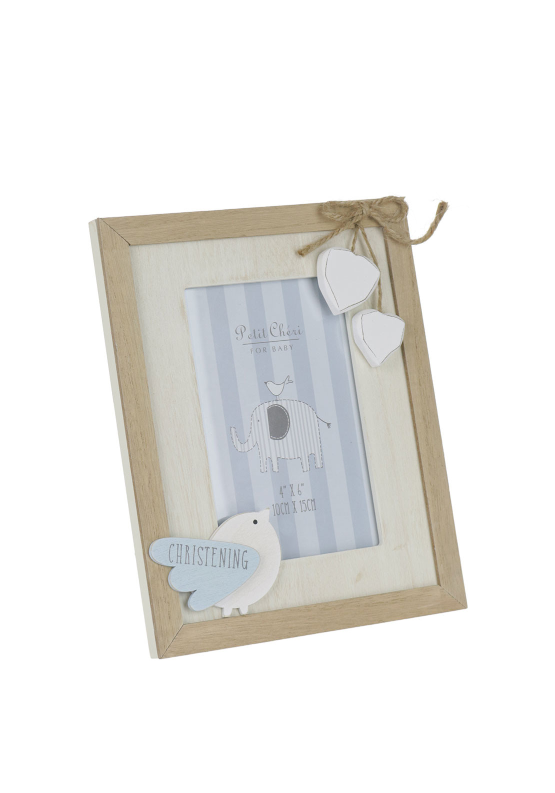 Petit Cheri for Baby Vintage Christening MDF Photo Frame, Blue