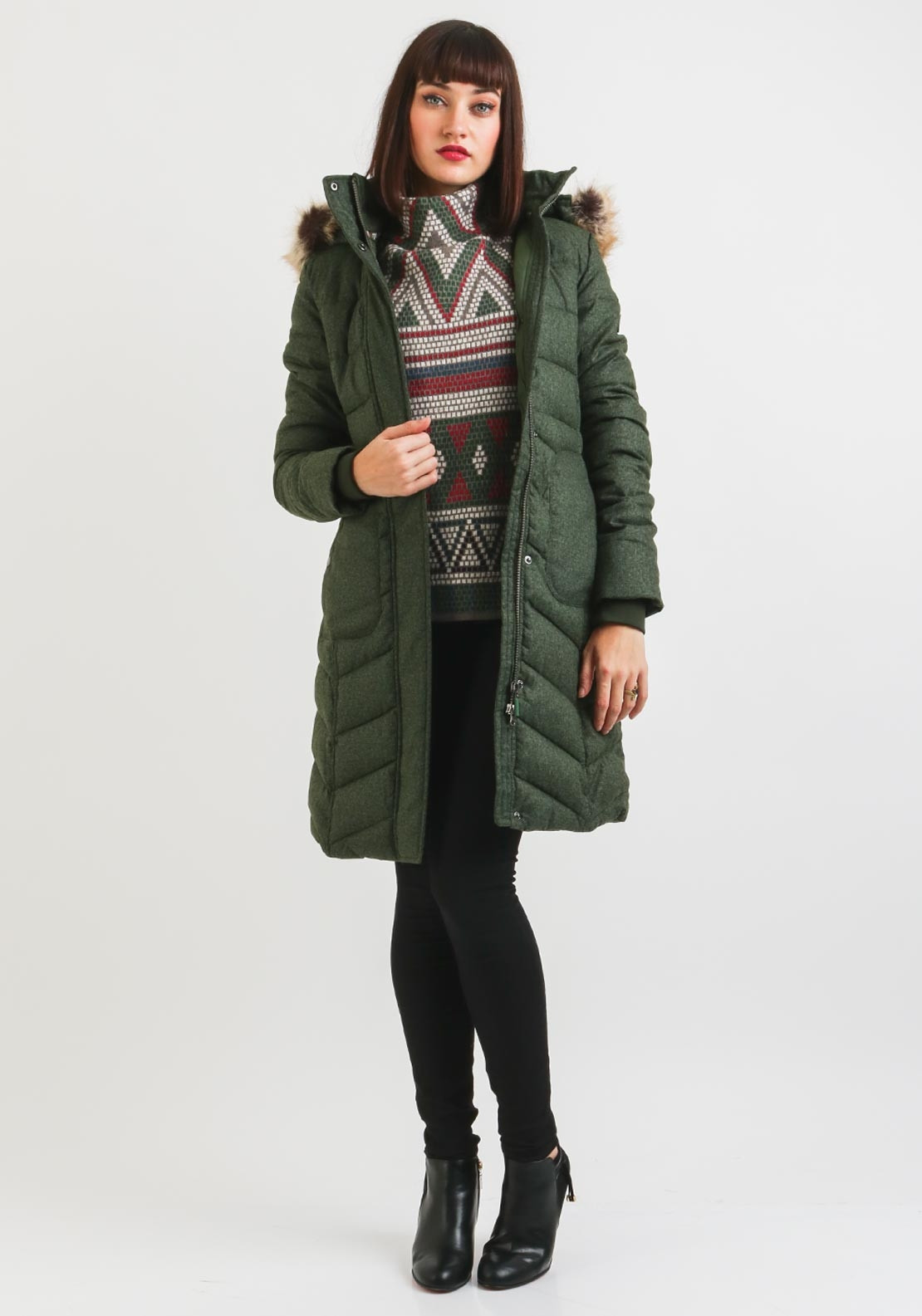 Barbour Womens Foreland Quilted Coat Green Mcelhinneys