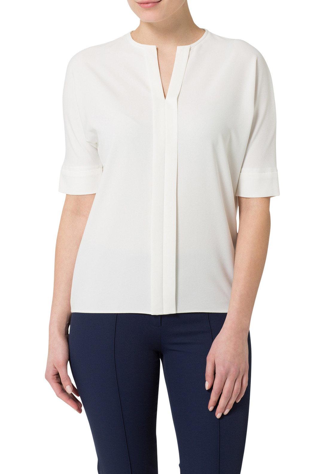 Basler Crepe Short Sleeve Blouse, Off White