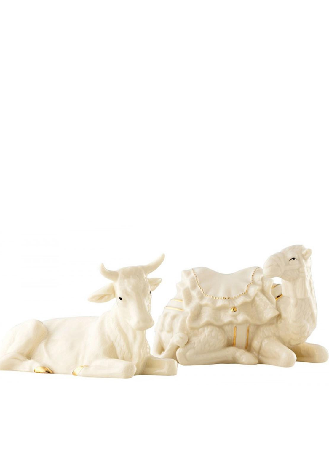 Belleek Christmas Manger Set includes Ox & Camel Ornaments