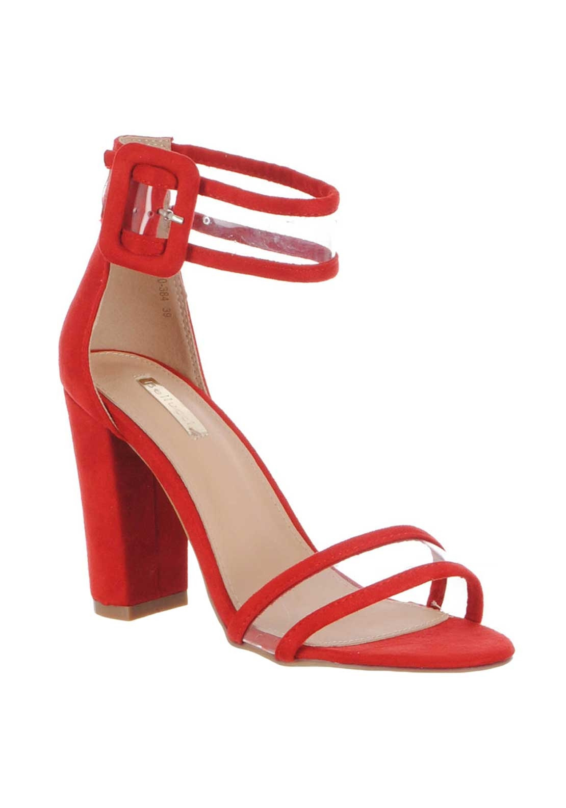 d05e47e5d0a Zen Clean Strap Block Heeled Sandals, Red