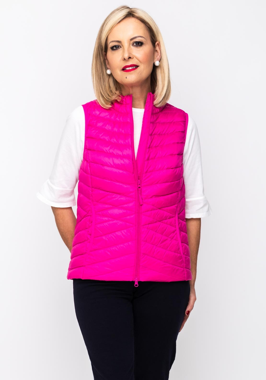 6f6566244f3 Betty Barclay Down & Feather Quilted Gilet, Hot Pink | McElhinneys