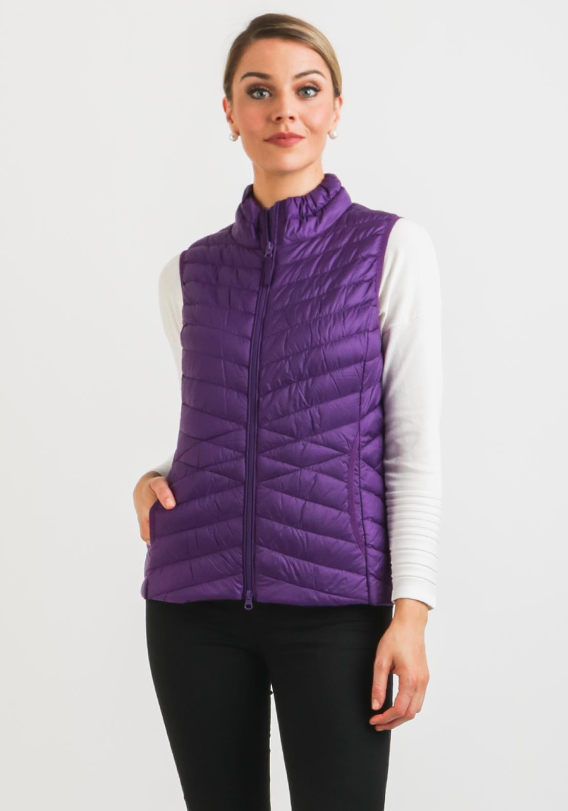 2ad08100e72 Betty Barclay Down & Feather Quilted Gilet, Purple | McElhinneys