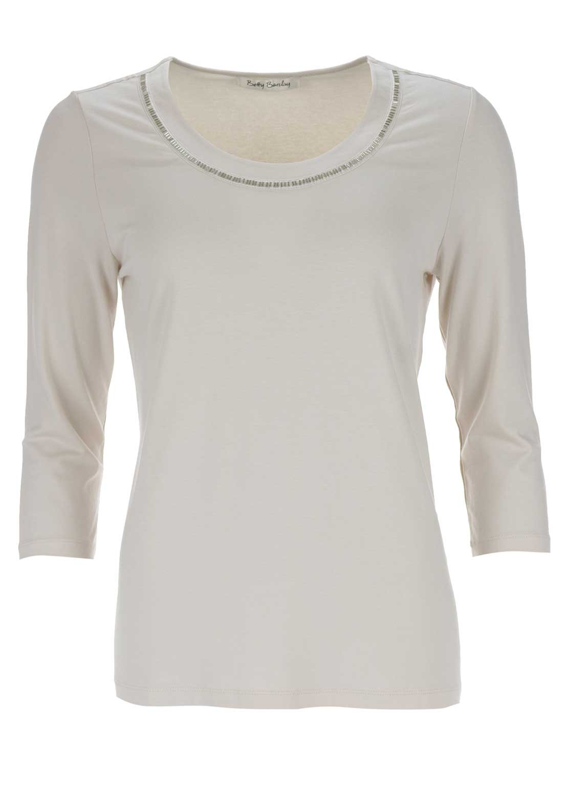 Betty Barclay Bead Trim Top, Nude