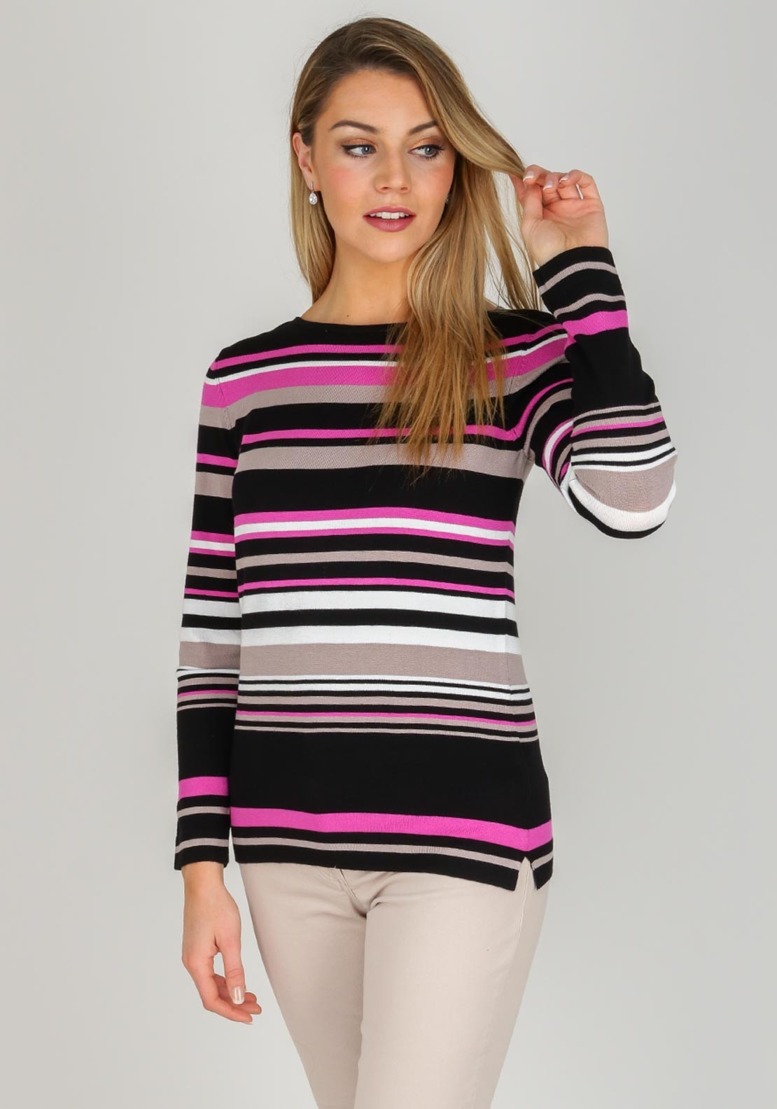 Betty barclay striped jumper black purple mcelhinneys for Betty barclay