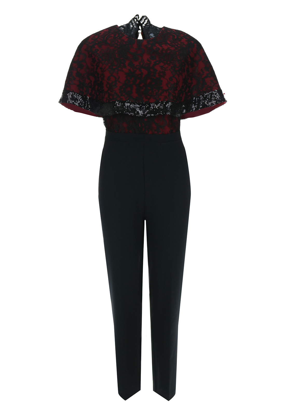 Boutique Cape Overlay Jumpsuit, Black & Red