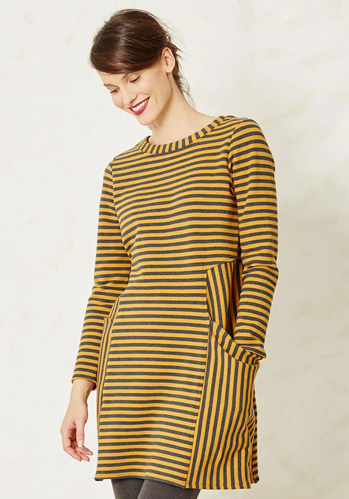 Braintree Arlborg Striped Tunic Dress, Mustard and Grey