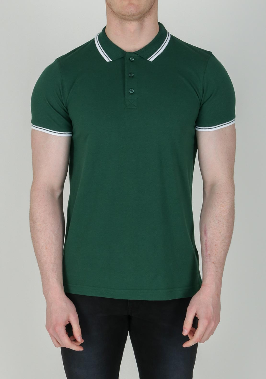 e7eec9f7f Brave Soul London Stripe Collar Polo-Shirt, Green. Be the first to review  this product