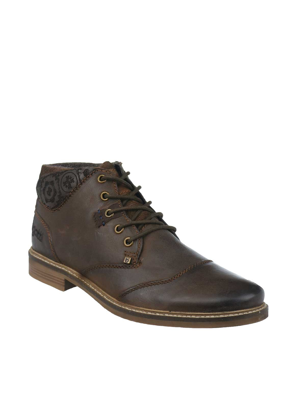 Bugatti Mens Leather Raw Edged Lace-Up Casual Boot, Brown