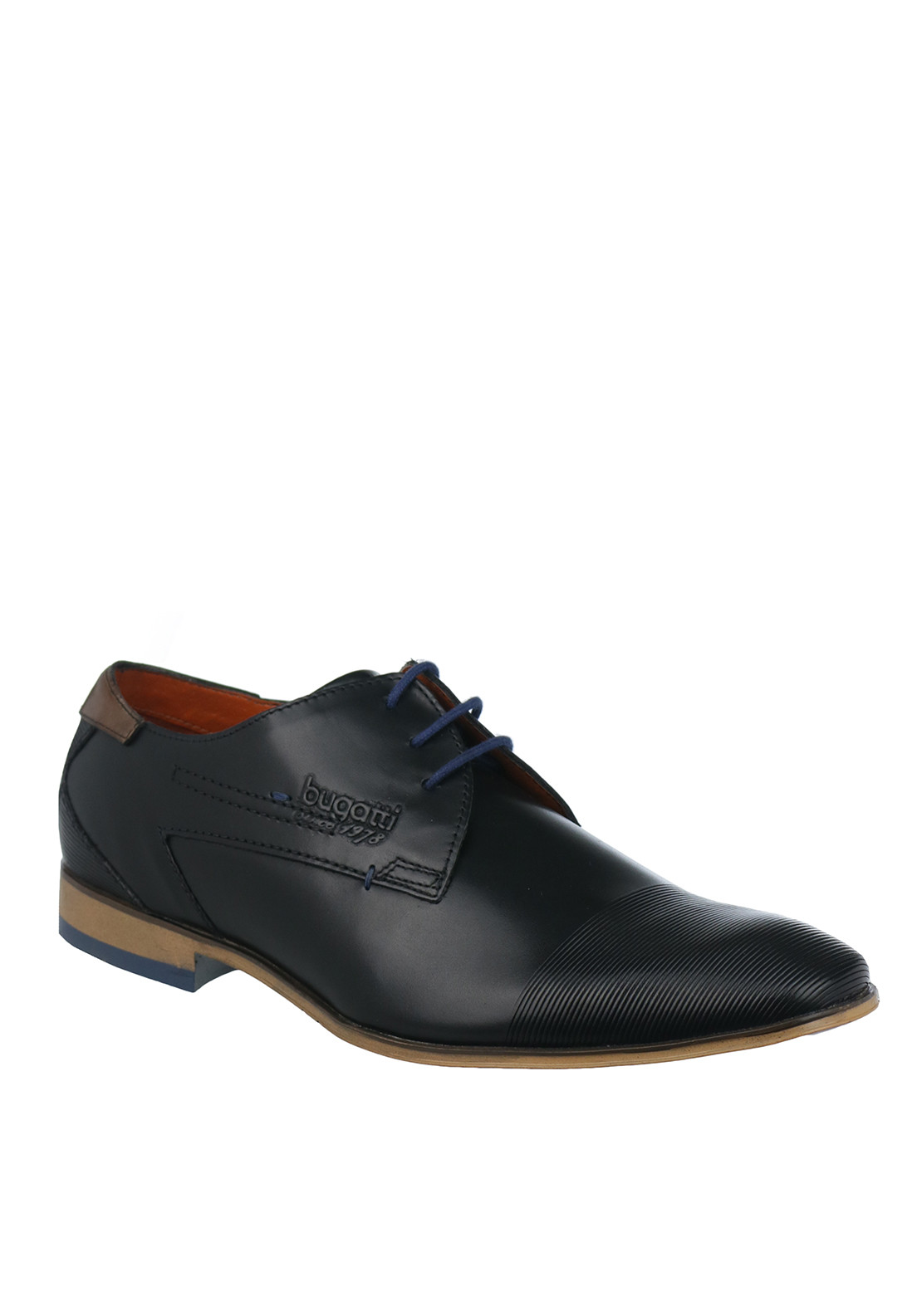 Bugatti Lace Up Textured Leather Shoe, Black