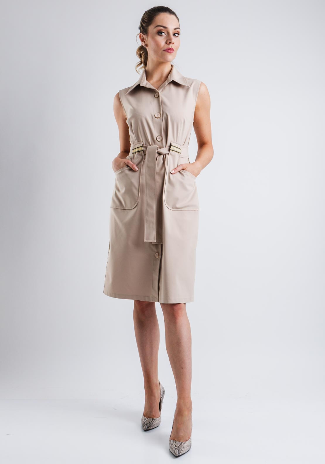 dc95c60bb631 Camelot Sleeveless Button Front Shirt Dress, Taupe. Be the first to review  this product