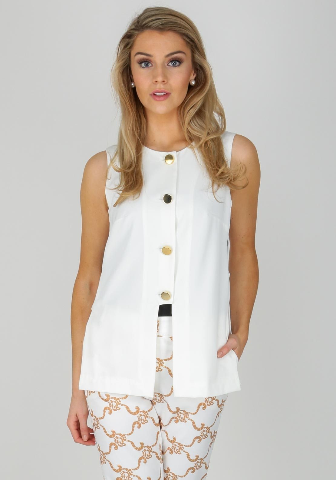 5b09483d9357f Camelot Open Side Button Down Top, White. Be the first to review this  product