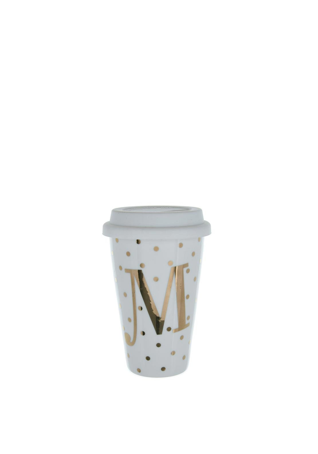Candlelight Initial M Double Walled Travel Mug with Silicone Lid