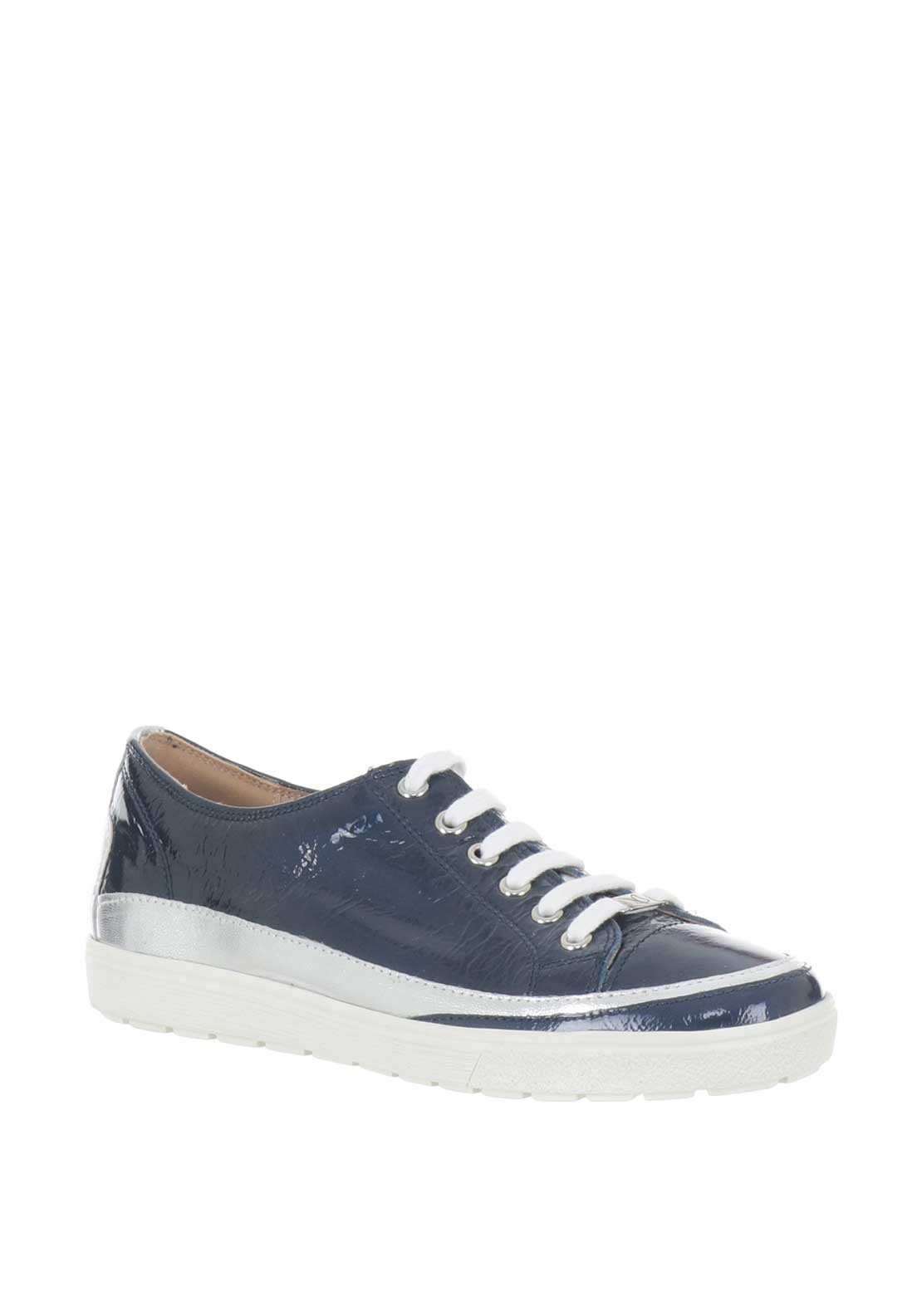 Caprice Patent Leather Trainers, Navy