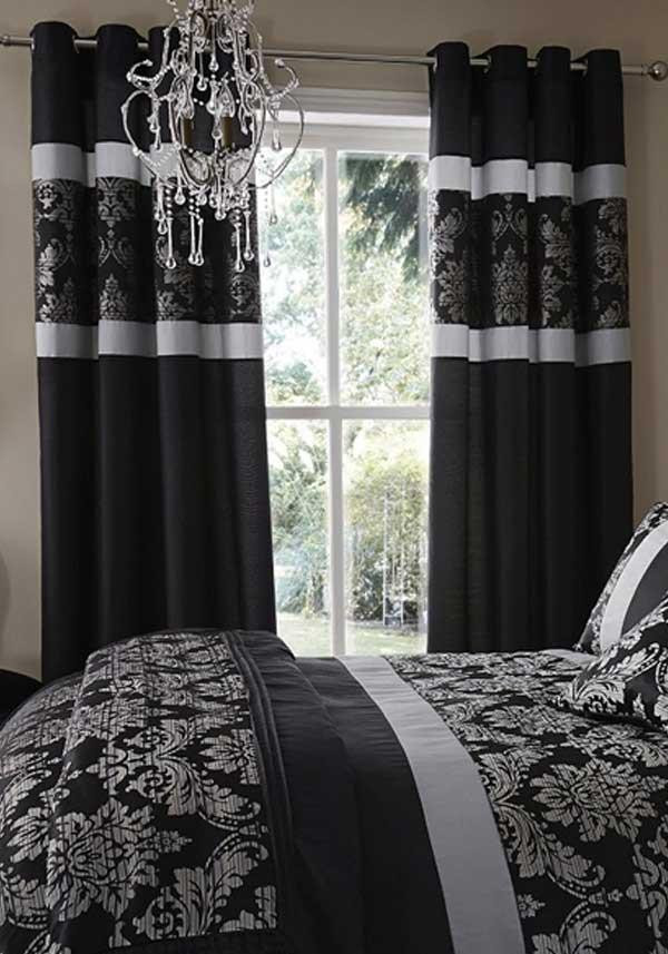 Catherine Lansfield Home Glamour Jacquard Curtains, Black