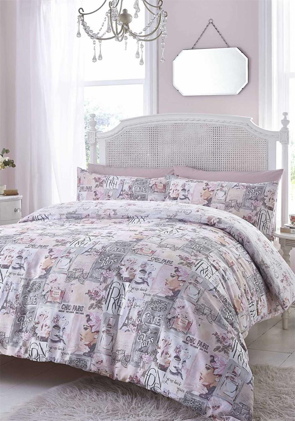 Catherine Lansfield Café De Paris Cotton Rich Duvet Set, Pink