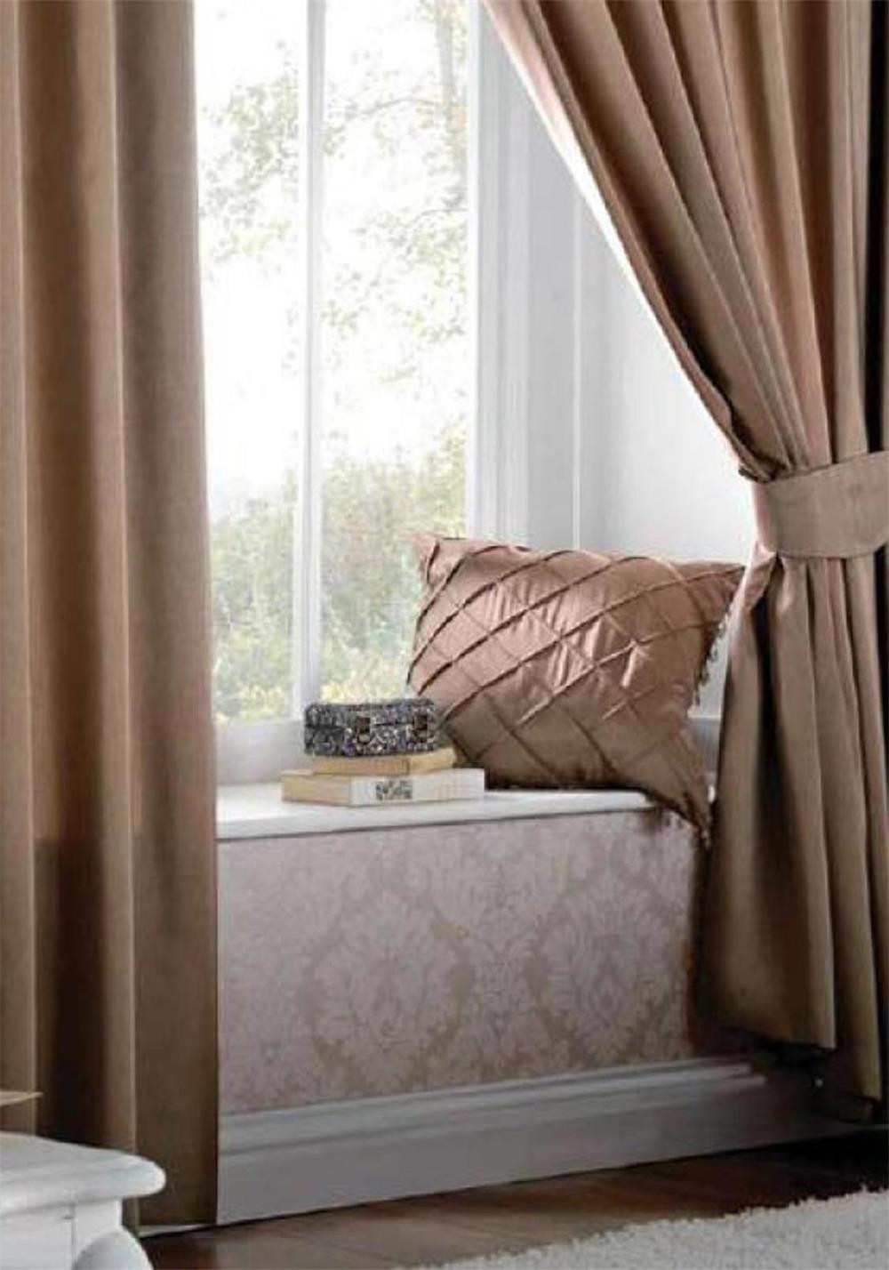 Catherine Lansfield Fully Lined Readymade Eyelet Curtains, Latte