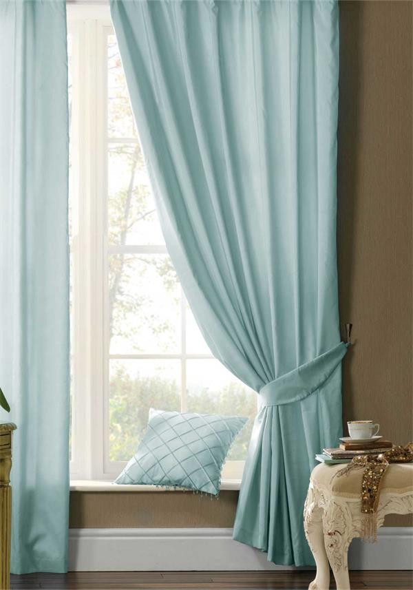 Catherine Lansfield Silk Sheen Fully Lined Eyelet Curtains, Duck Egg