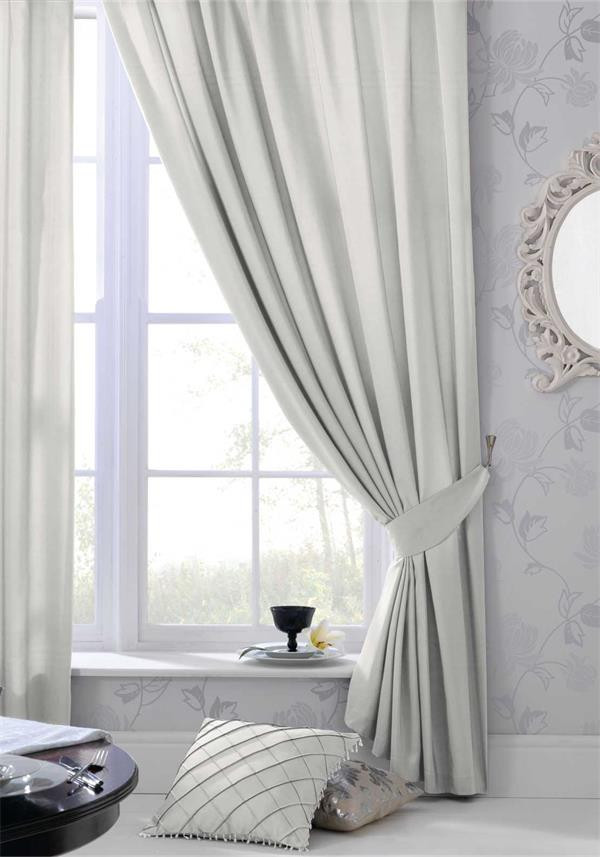 Catherine Lansfield Silk Sheen Fully Lined Eyelet Curtains, Silver
