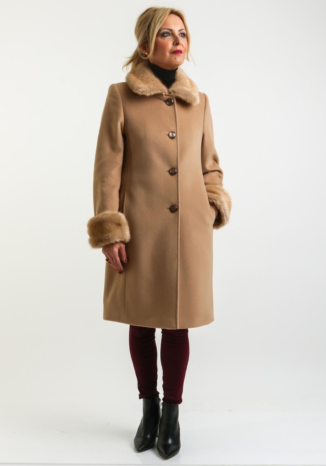 great deals 2017 save up to 60% hot-selling fashion Christina Felix Faux Fur Trim Wool Rich Coat, Camel