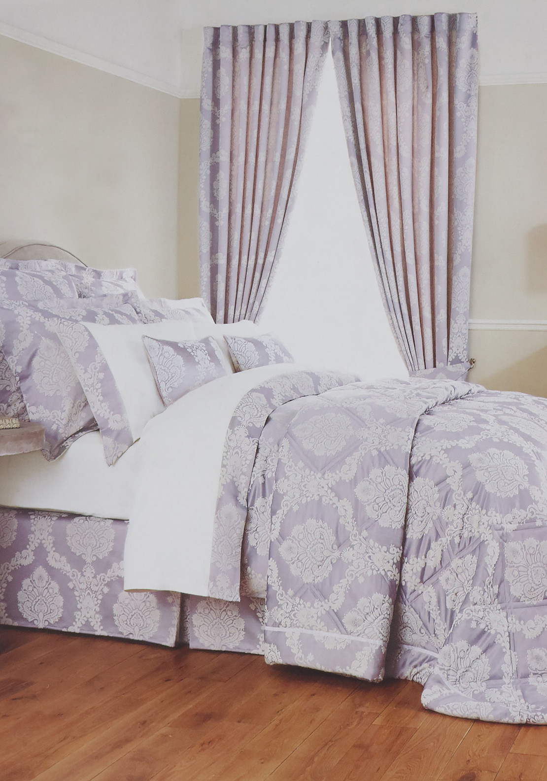 Christy Romeo Brocade Print Duvet Cover, Lavender Grey