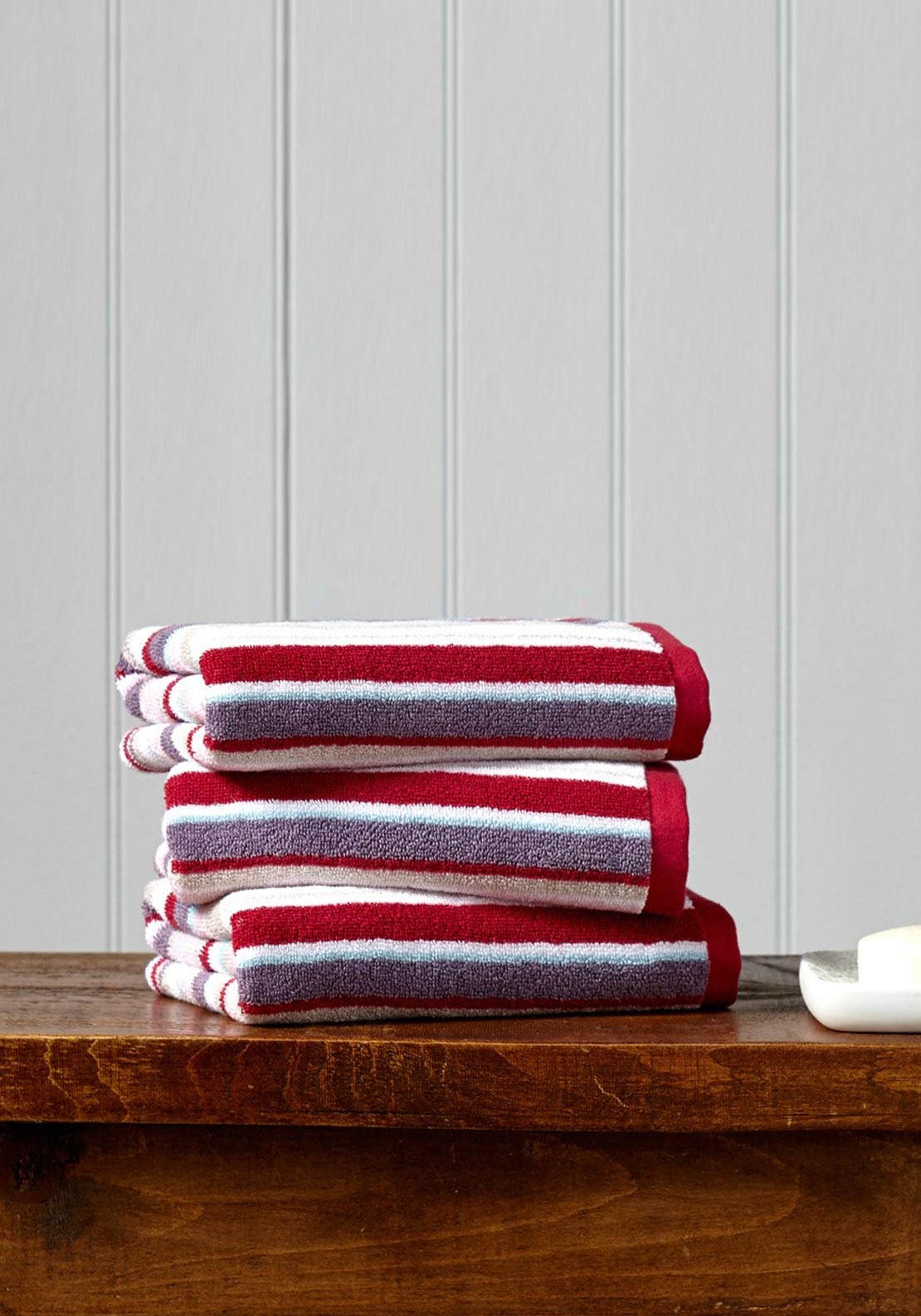 Christy Portobello Stripe Towel Range, Pale Pink