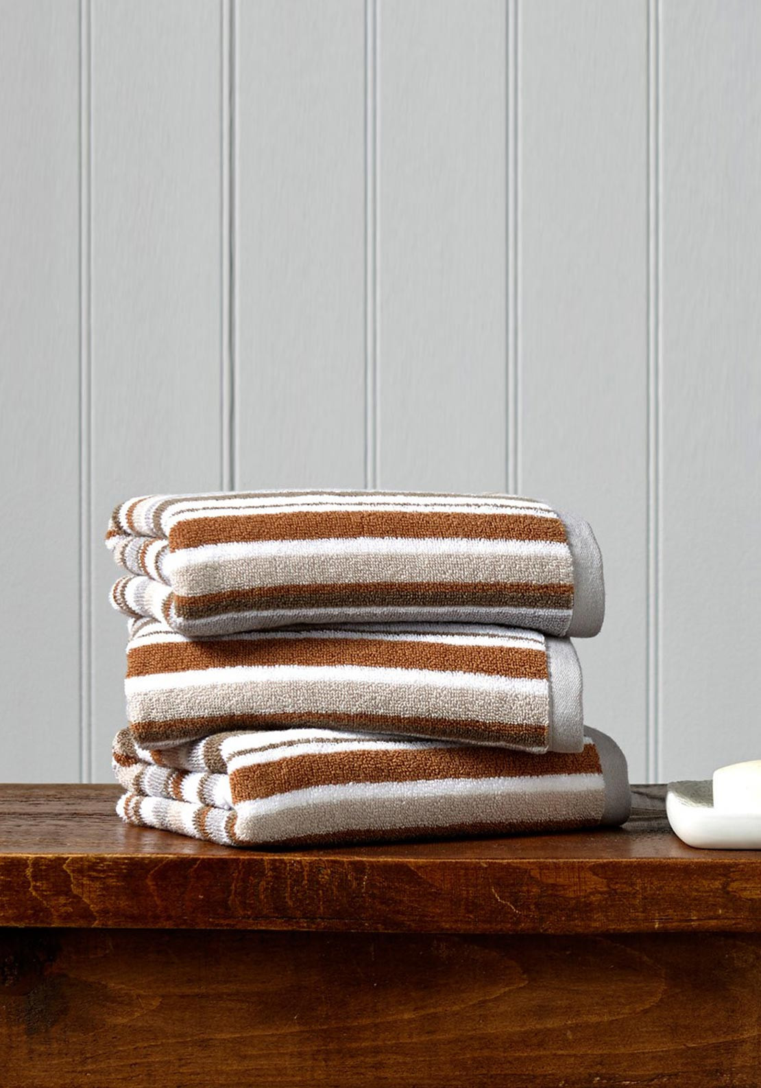 Christy Portobello Stripe Towel Range, Pebble
