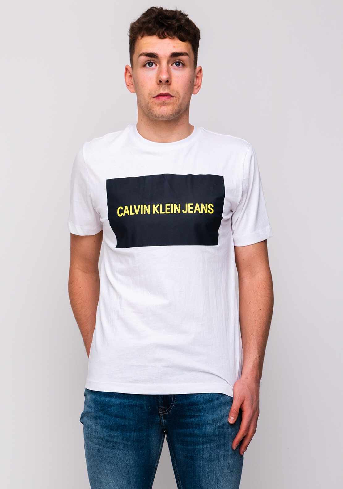 lace up in best service exclusive shoes Calvin Klein Jeans Logo T-Shirt, White & Navy