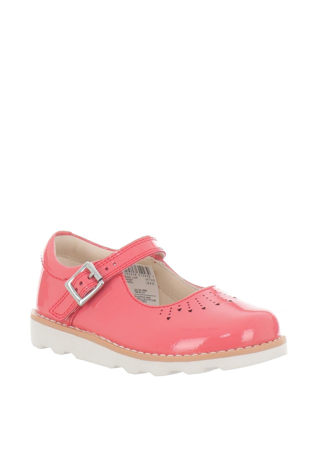 f6c4857bd55723 Clarks Girls Crown Jump Patent Leather Shoes, Coral | McElhinneys