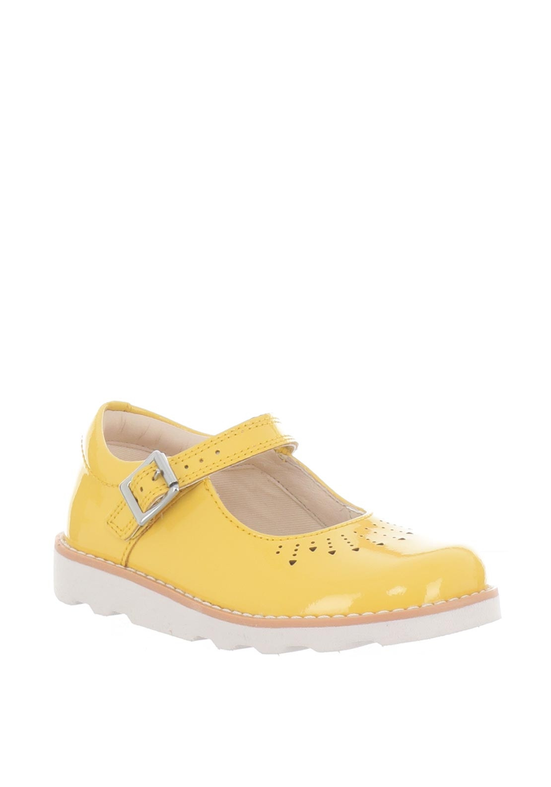 322c46cb2527a9 Clarks Girls Crown Jump Patent Leather Shoes, Yellow | McElhinneys