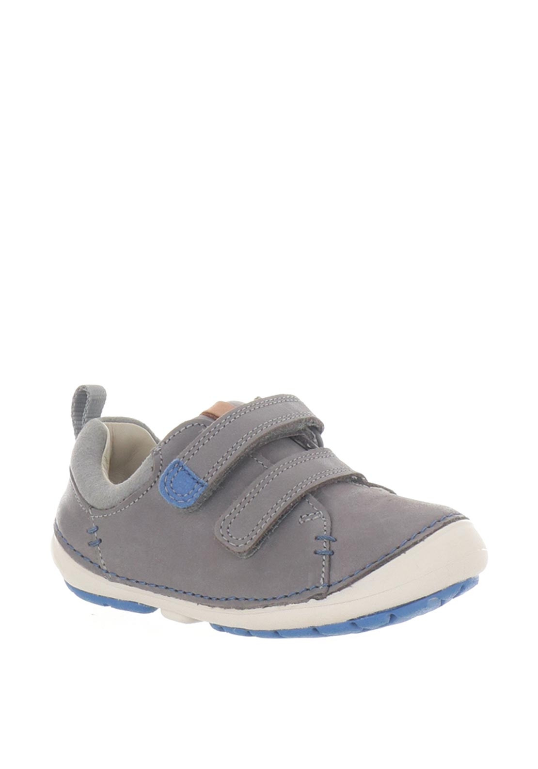 1056a097 Clarks Boys Softly Toby Leather First Shoes, Grey