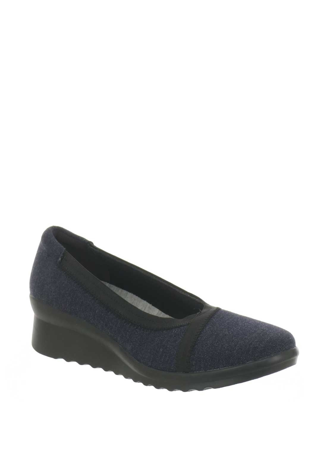 0a54bec228941 Clarks Womens Caddell Dash Low Wedge Pump, Navy. Be the first to review  this product