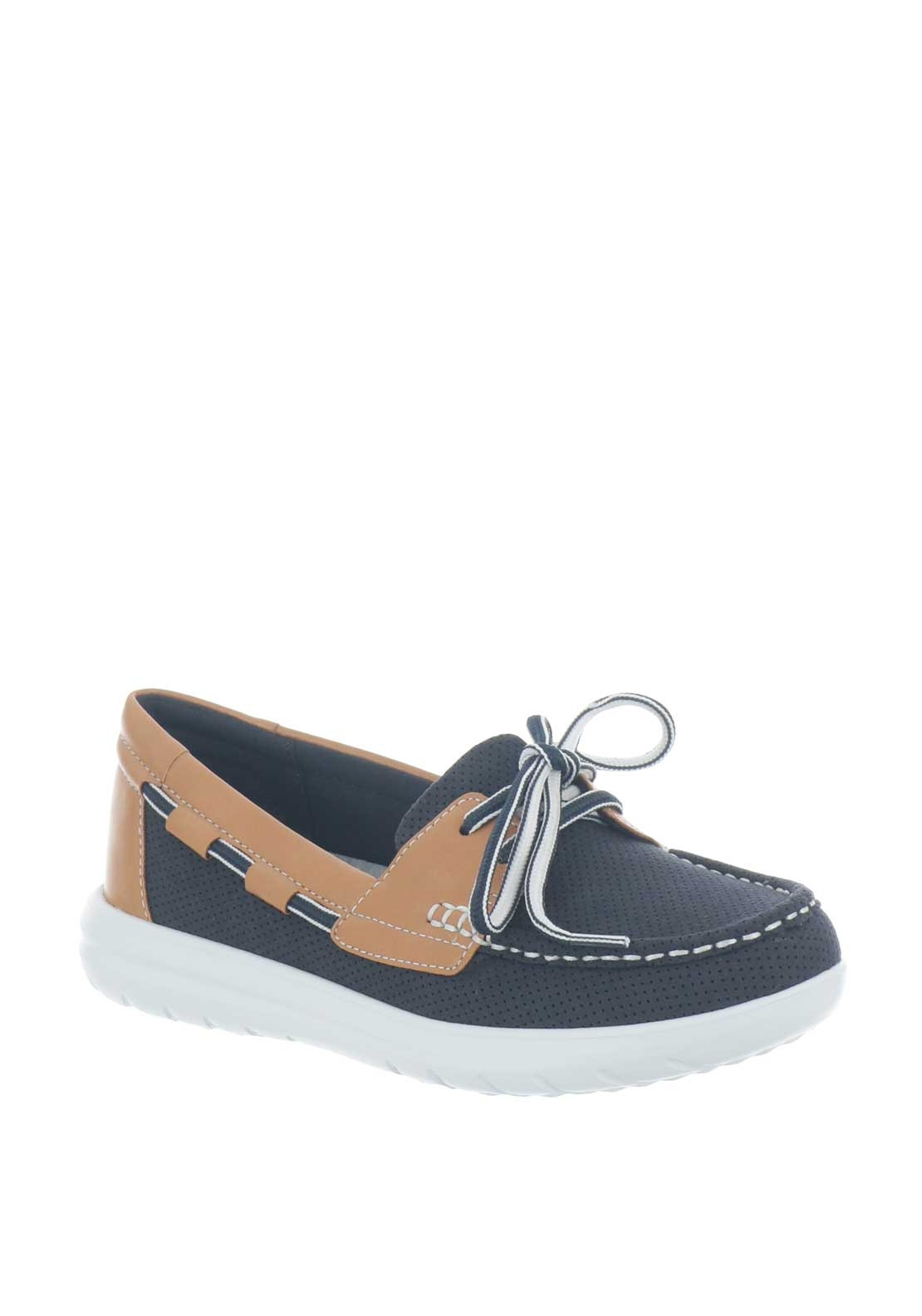 clarks ladies navy loafers