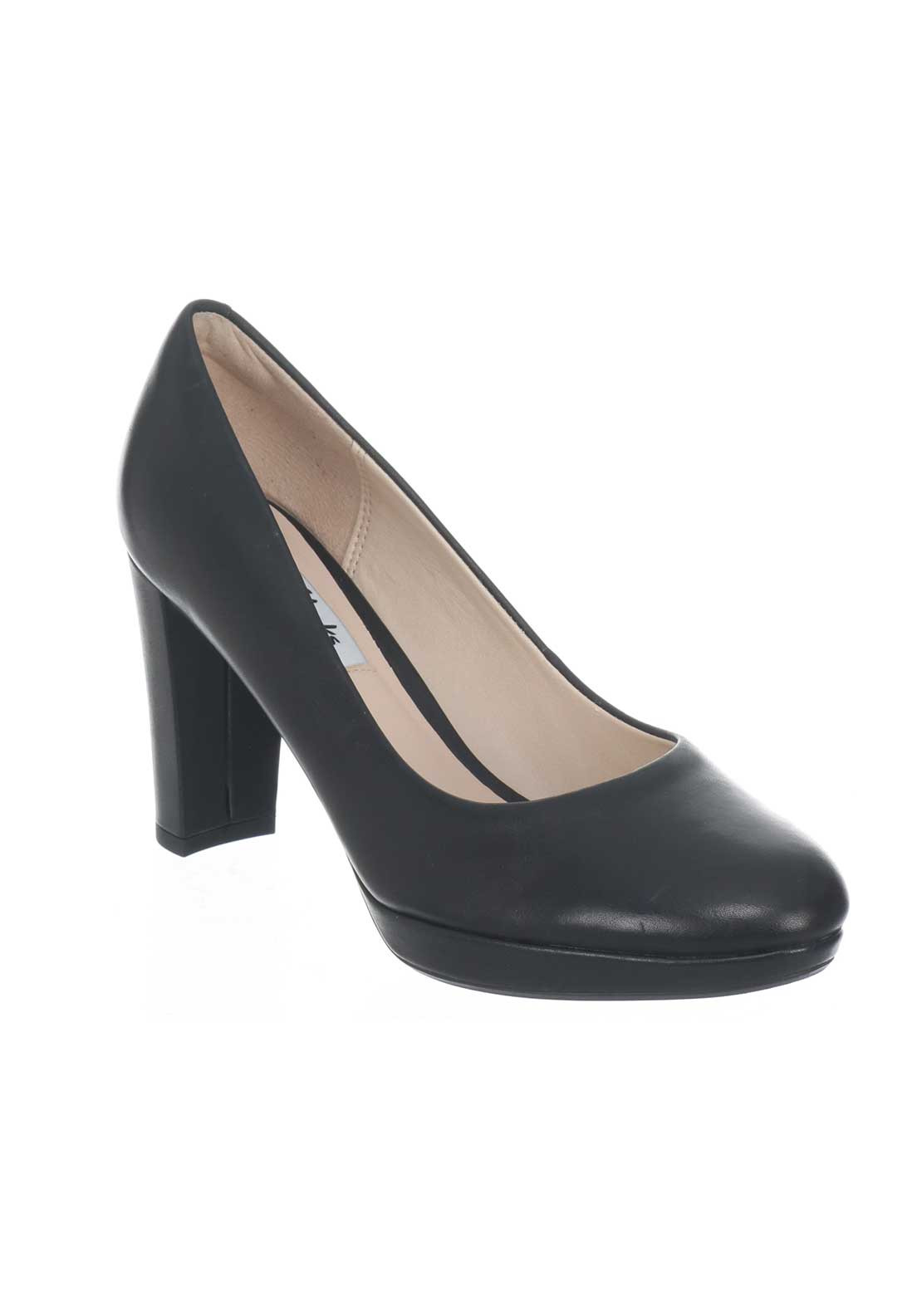 Clarks Womens Kendra Sienna Leather Court Shoes, Black