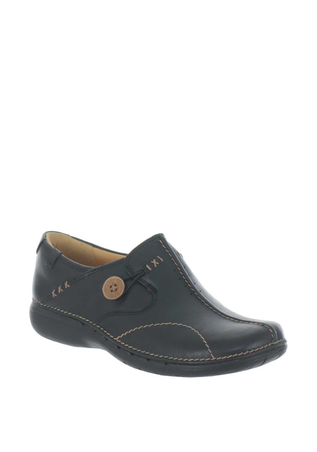 921d1b0b Clarks Womens Unloop Leather Shoe, Black