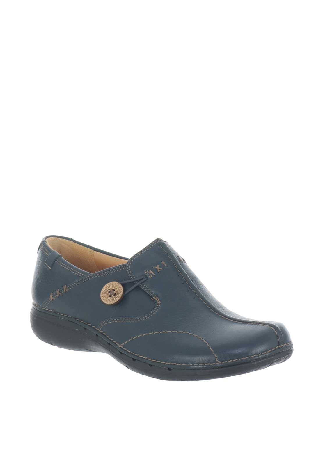 Clarks Womens Leather Un Loop Slip on Shoes, Navy