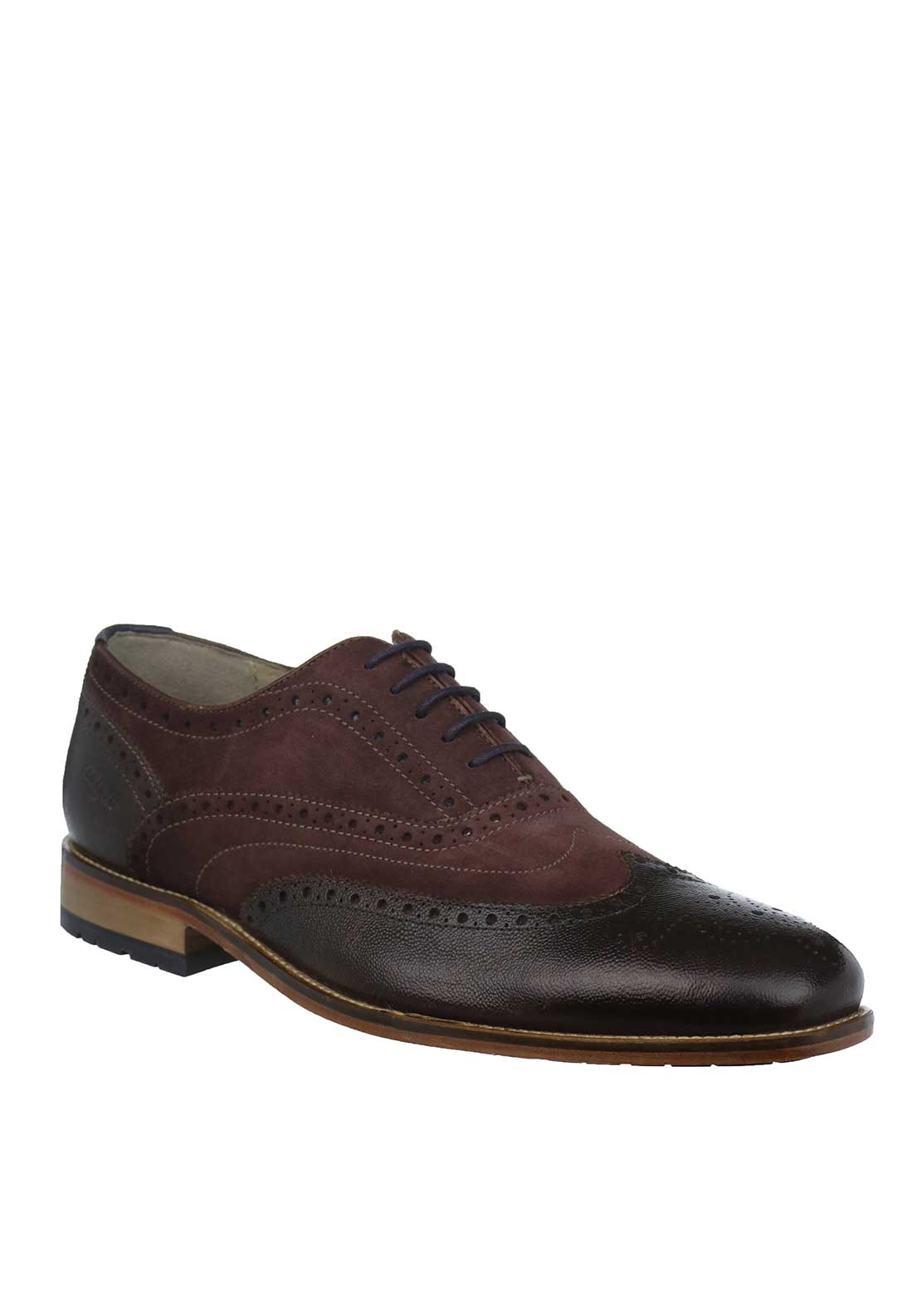 Clarks Mens Penton Limit Brogue Shoes, Wine