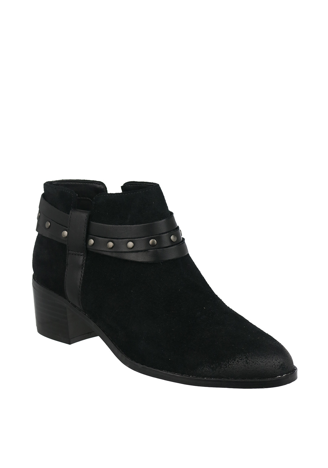 Clarks Womens Breccan Shine Suede Strappy Ankle Boots, Black