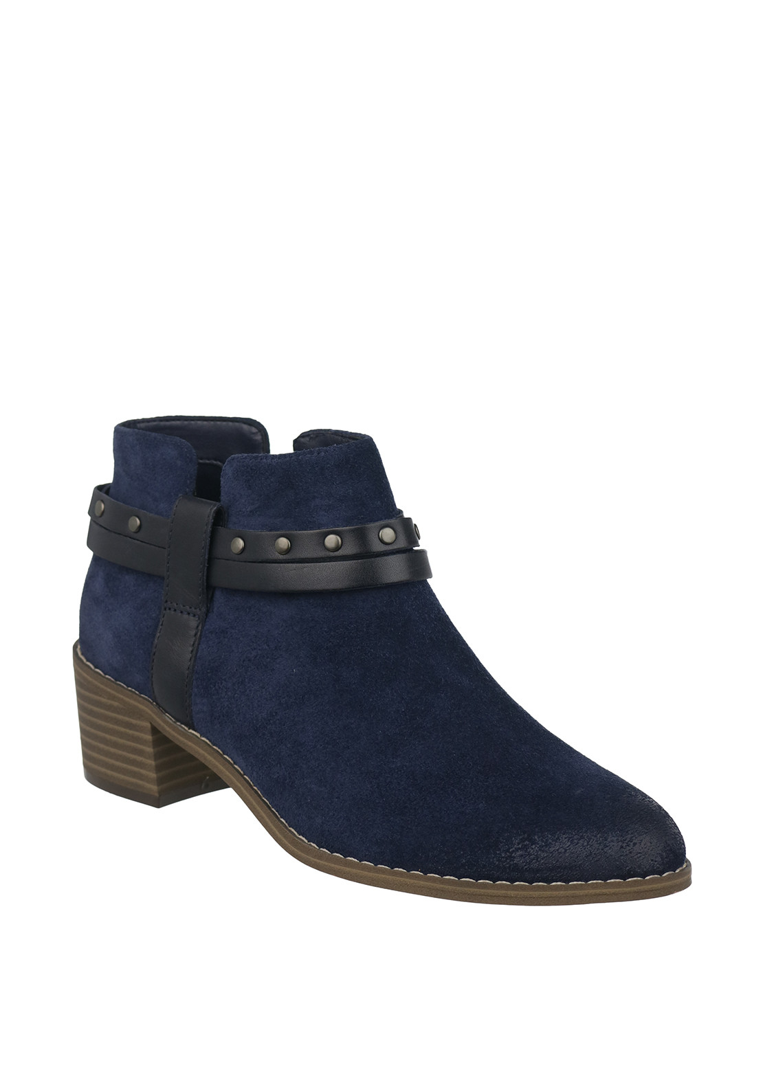 Clarks Womens Breccan Shine Suede Strappy Ankle Boots, Navy