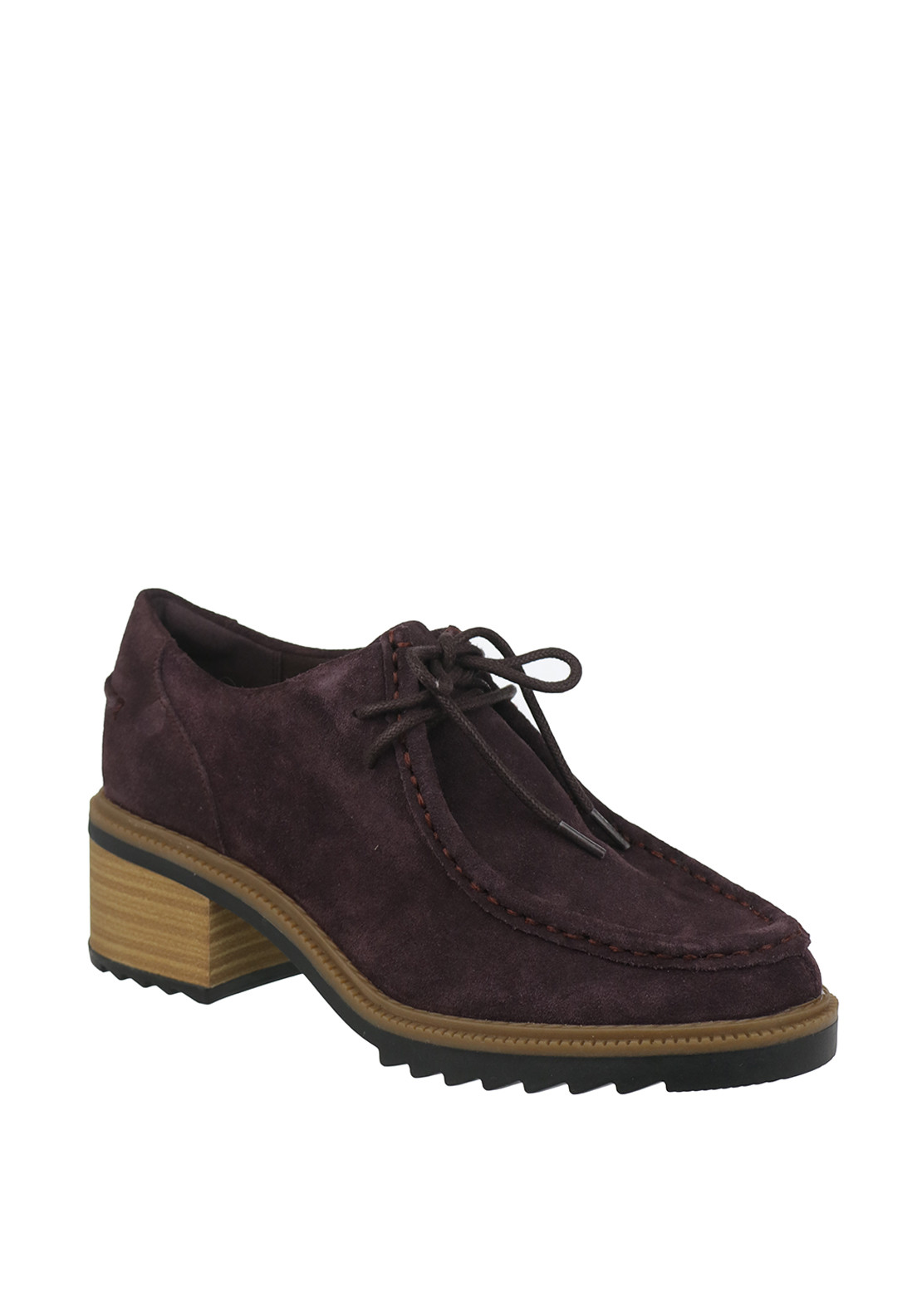 Clarks Womens Balmer Willow Suede Heeled Loafers, Aubergine Purple