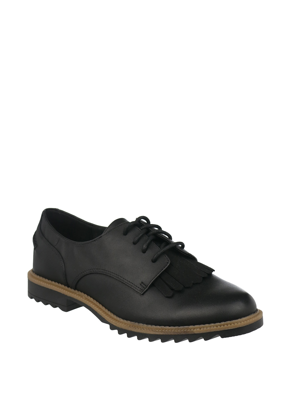 Clarks Womens Griffin Mabel Leather Brogue Shoes, Black