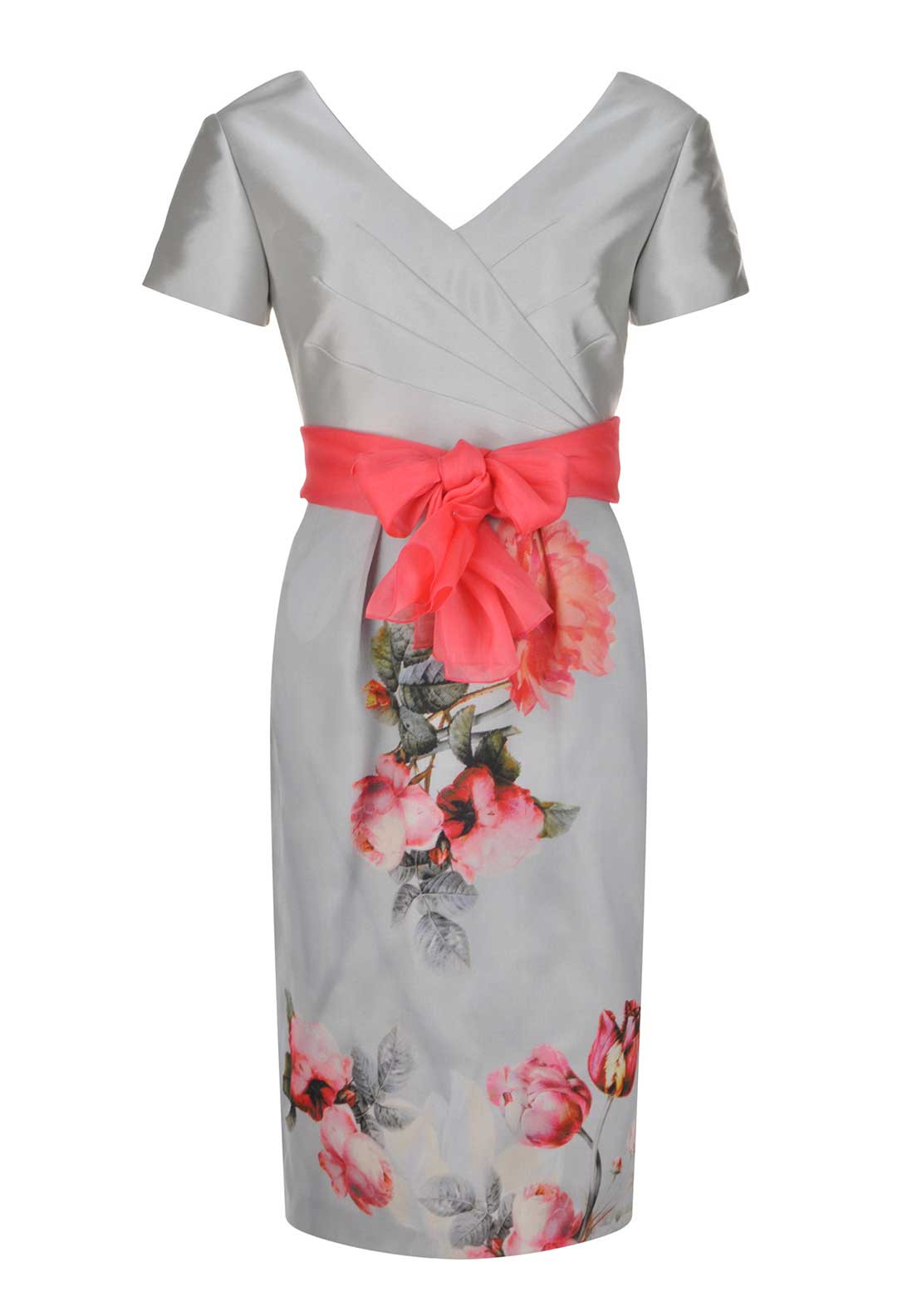 Carmen Melero Floral Print Dress, Grey Multi CM19044