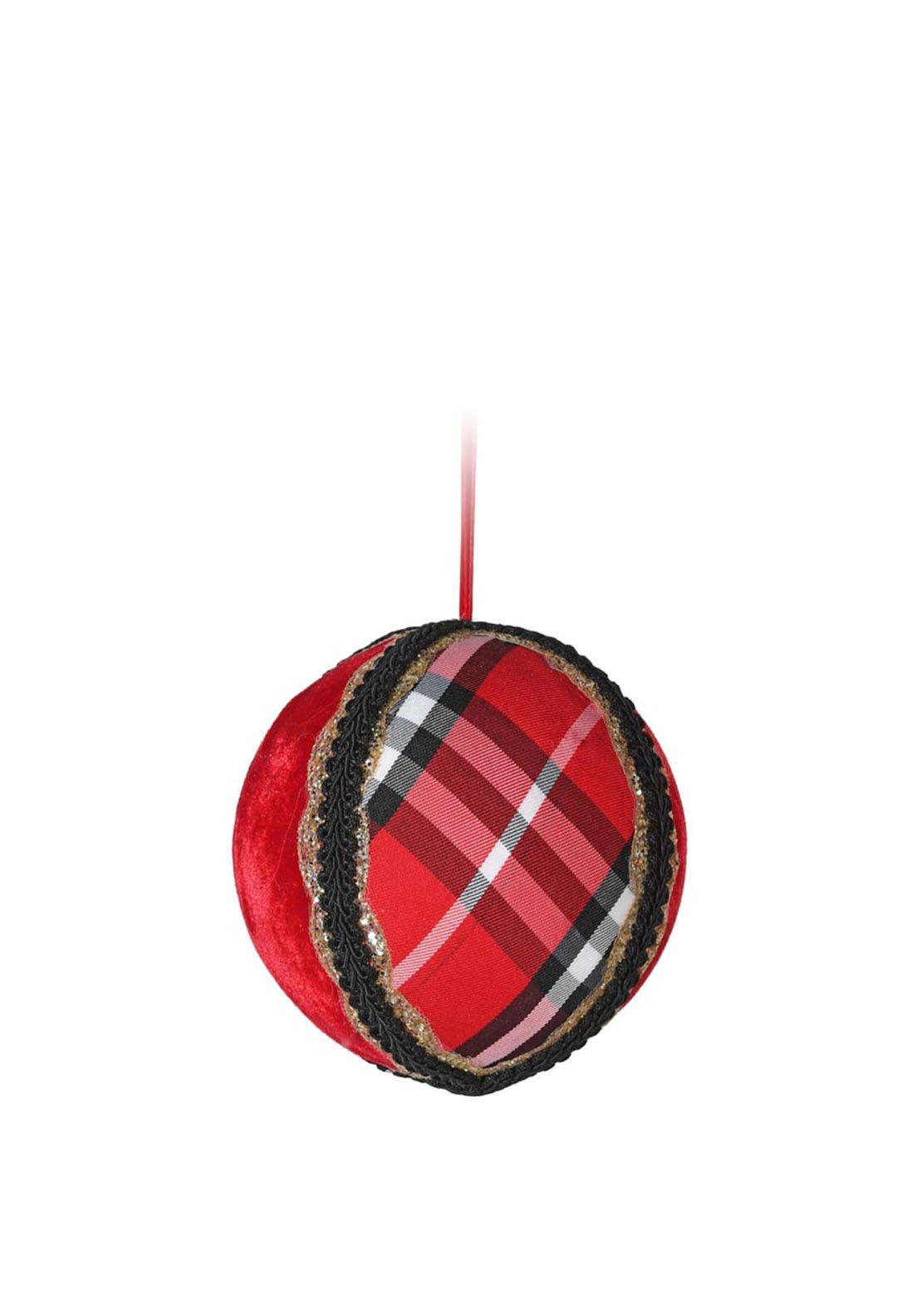 Coach House Tartan Large Bauble Decoration, Red