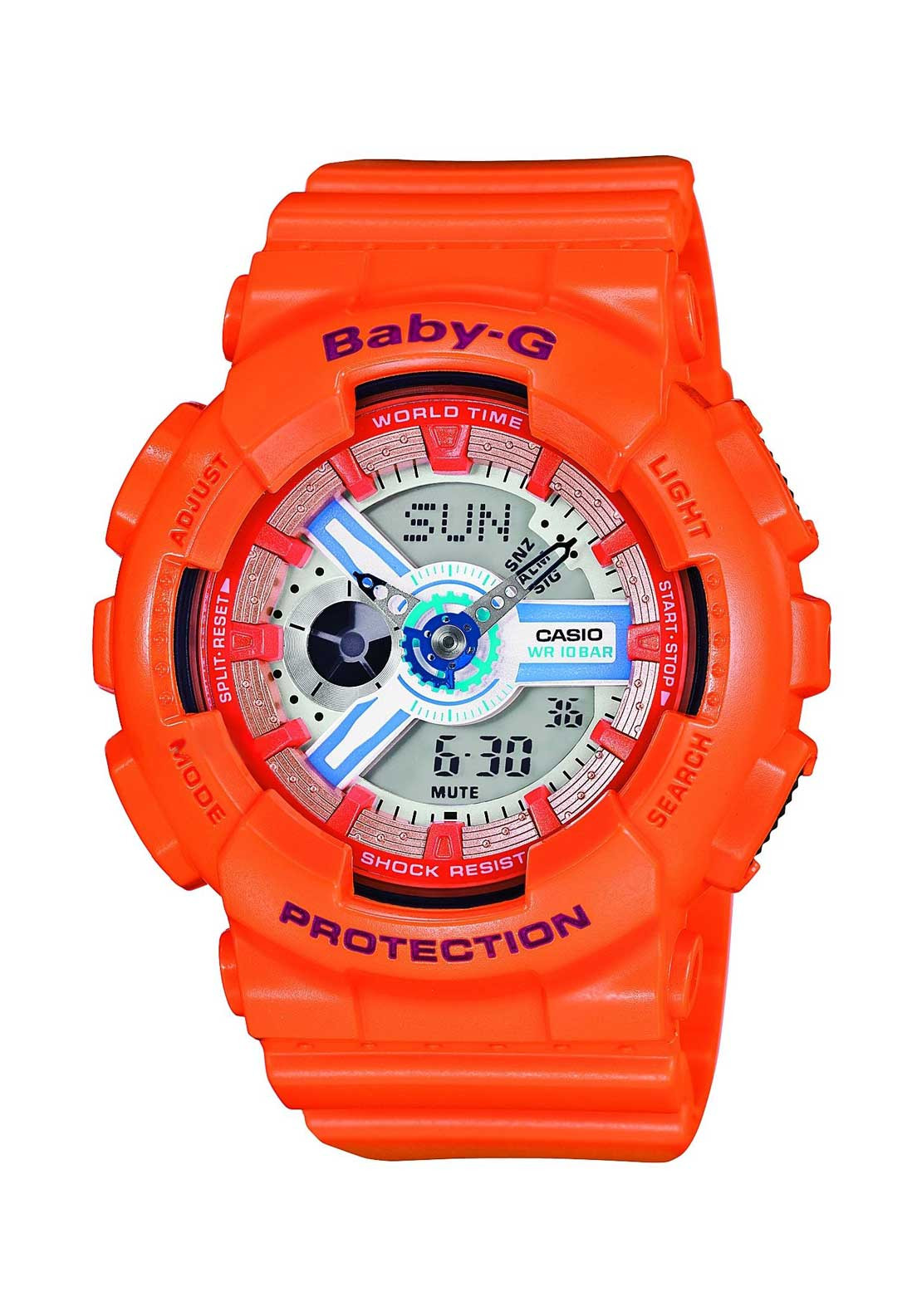 Casio Ladies Baby-G Alarm Chronograph Watch, Orange