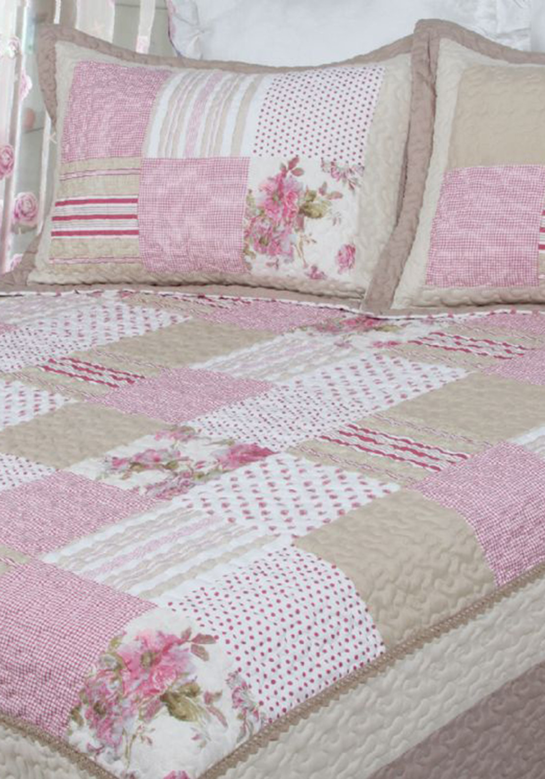 Cocoon Antique Rose Patchwork Bedspread, Pink Multi