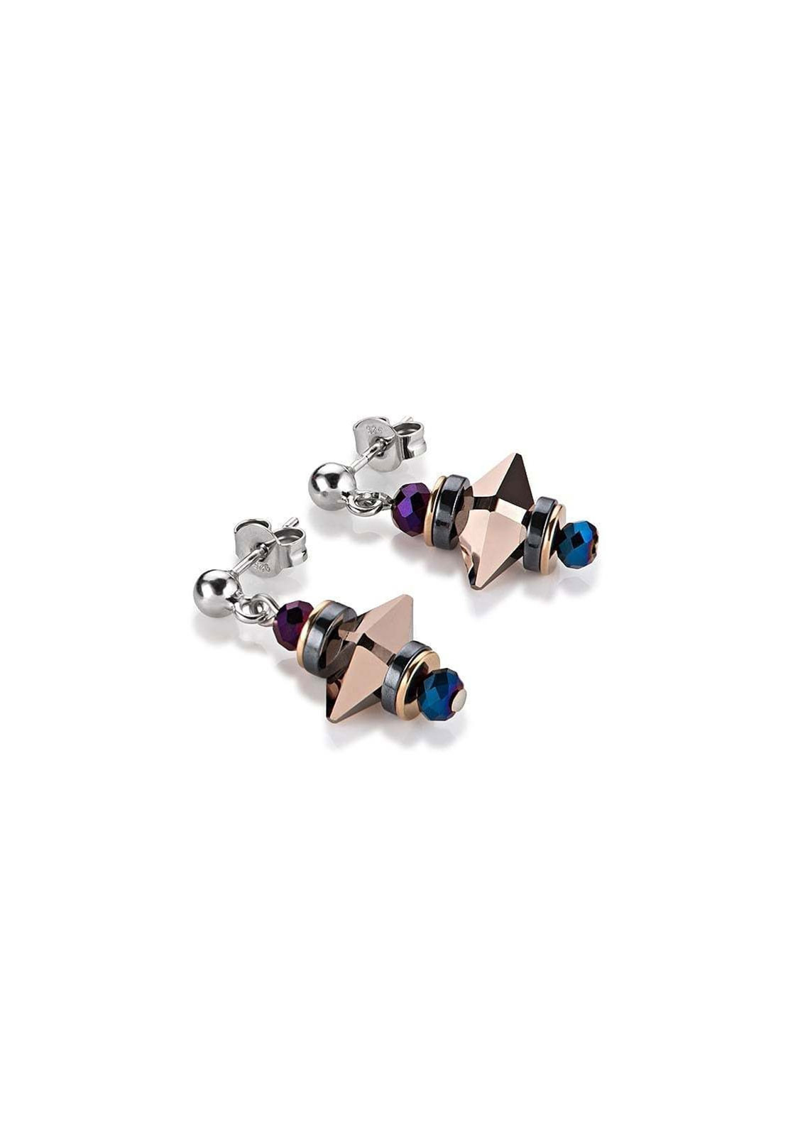 Coeur de Lion Swarovski Crystal Earrings, Bronze Multi
